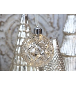 Chic Antique Julekugle LED silver look-20