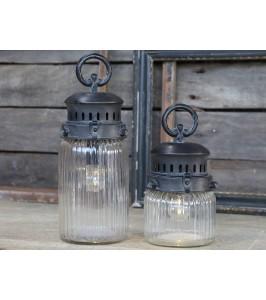 Fransk Stald lanterne med el-pære og timer fra Chic Antique