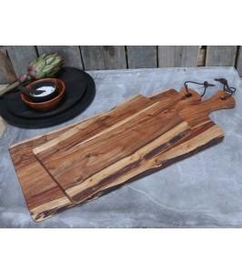 Chic Antique Tapasbræt i akacietræ med læderstrop