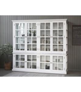 Flot hvidt Chic Antique vitrineskab med hylder og 8 låger 40203-01
