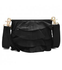 sort taske med flæser sort depeche