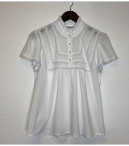 kortærmet bluse hvid continue