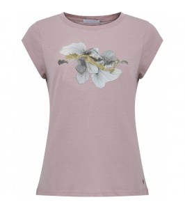 dame t-shirt rosa med blomsterprint og gulddetaljer coster copenhagen