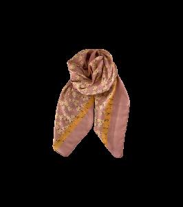 tørklæde m. blomster rosa black colour