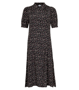 lang sort kjole in front