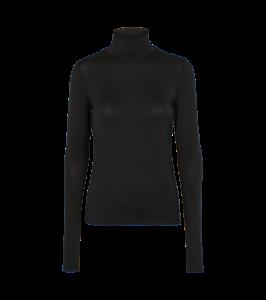 langærmet bluse med rullekrave sort basic apparel