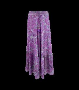 lang nederdel maxi skirt black colour lavender paisley