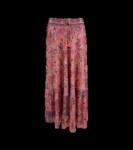 lang nederdel maxi skirt black colour pink paisley