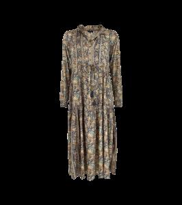 lang maxi kjole blå med print black colour