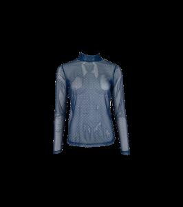 langærmet mesh bluse mørkeblå prikker black colour