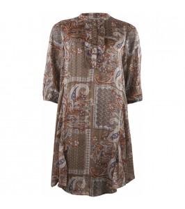 kort kjole paisley brun continue