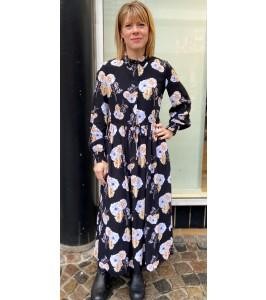 lang kjole sort m. blomster pieces