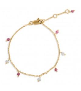 armbånd med perler og pink sten pure by nat