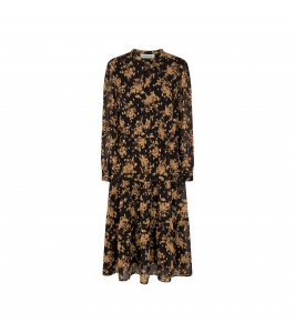lang kjole blomsterprint guld sort sofie schnoor