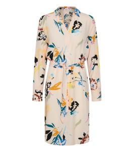 kjole beige med blomsterprint saint tropez