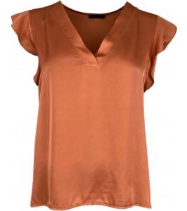 kortærmet dame top rust orange satin black colour