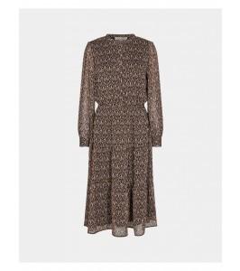 lang kjole mørkt print sort sofie schnoor