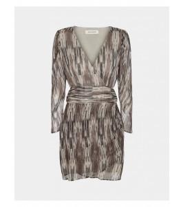 kort kjole army print grå og hvid striber sofie schnoor
