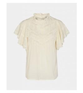 bluse med flæse og blonde hvid sofie schnoor