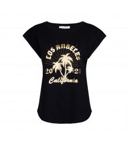 t-shirt med guld print sort sofie schnoor