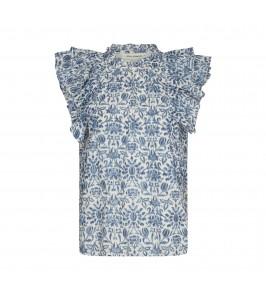 bluse med flæse blå og hvid sofie schnoor