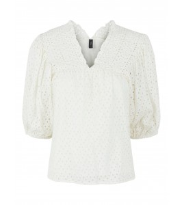 bluse off white broderi anglaise YAS