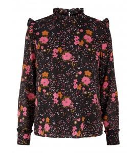 sort bluse blomsterprint YAS