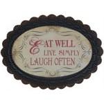 "Chic Antique Metalskilt "" Eat Well "" 34x46-01"