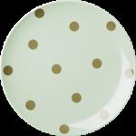 Rice Melamin Tallerken M/ Guld Polka Prikker 3 Ass. Pastelfarver.-01