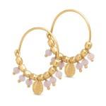 guld creol ørering med rosa sten pure by nat
