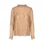 sofie schnoor skjorte camel m. guldmønster