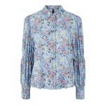 blå skjorte m. blomster yas
