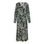 grøn mønstret lang kjole yas